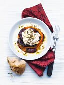 Squash gratin, red beets and goat cream cheese