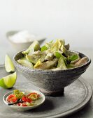 Green veal curry with avocado