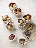 Assorted potato varieties in burlap bags