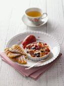 Berry gratin with heart-shaped waffles