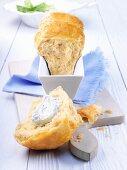 Savory 'Rohrnudeln' (Bavarian hot cross buns) with cream cheese