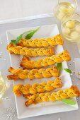 Puff pastry plaits with herbs