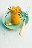 Squash pesto in a pickling jar