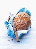 Semolina bread in a bread basket