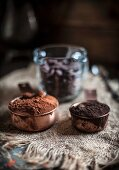 Two Types of Cocoa Powder in Measuring Cups