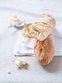 Baguette on linen cloths