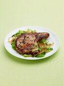 Pork Chops on a Bed of Salad