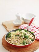 Fettuccine with a cream sauce, chicken, leeks and broccoli