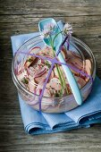 Sausage salad with radishes, onions and chives