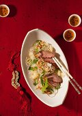 Asian cellophane noodle salad with duck breast