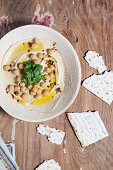 Hummus with chickpeas and flatbread