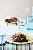Five Minute Steak - Potatoes, Seeded Mustard Dressing, Broccoli, iced Water