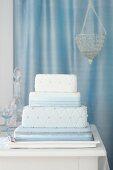 Silver Blue Cushion Cake