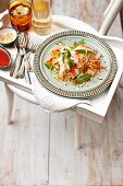 Vietnamese 'lasagne' – chicken and vegetable salad with rice pasta sheets