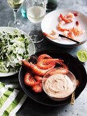 Prawns with lime mayonnaise and a salad