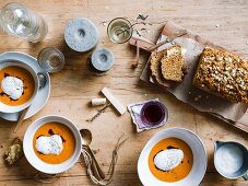 Pumpkin soup with ginger milk, and soda bread with molasses