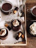 Chocolate cream with wafer rolls