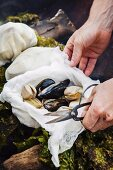 Mussels cooked in fabric sacks