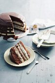 Chocolate cake with a cream filling