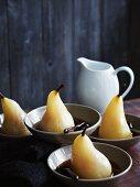 Spiced pears in a cinnamon broth