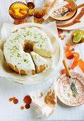 Lime Angel Food cake with an elderflower glaze served with mango wedges