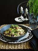 A wholemeal salads with the bulgur, quinoa, vegetables and bean sprouts