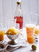 Moscato and peach cocktail