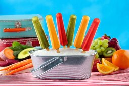 Fruit and Veggie Popsicles in an Ice Bucket