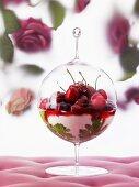 Cherry and geranium dessert