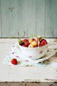 Red and white raspberries