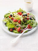 Mixed leaf salad with summer berries