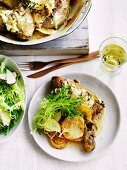 Chicken with turnips and cider
