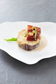 Coalfish with bacon and white beans