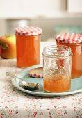 Apple jam with five spice powder in jam jars