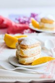 Heart-shaped mille feuille filled with mango ice cream