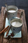 Chai tea, cinnamon sticks, star anise and peppercorns