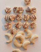 Nougat biscuits and Vanillekipferl (cresent-shaped vanilla biscuits)