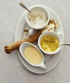 Three sauces with horseradish root