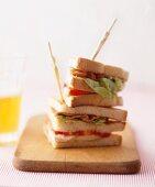 Fried Chicken Sandwich with Lettuce on a Bun