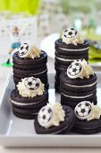 Stacks of biscuits with football decorations