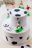 Gift boxes decorated with footballs