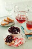 Provençal tapenade with black olives and capers served with white bread and rose wine