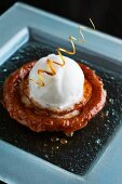 Tarte Tatin with pineapple and vanilla ice cream