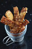 Crispy pork crackling as a snack