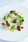 Scallops with lamb's lettuce and shiso