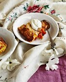 Clafoutis with apricots, almonds and rosemary