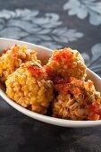 Sweetcorn balls with salsa