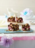 Rocky road slices with almonds and pistachios
