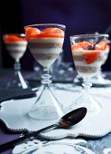A layered nougat and marzipan dessert with Aperol-poached pears
