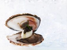 A Belon oyster with oyster ice cream and caviar